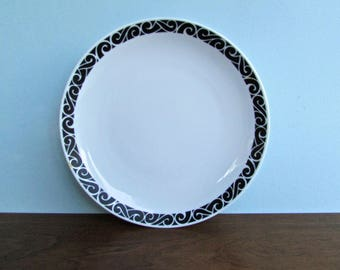 Couturer Onyx Pivotal Chop Plate, Designed by Ben Siebel - Porcelain Slightly Lipped White Plates w/ Black Scroll Border, Made in Japan