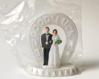 SALE Cake Topper Bride and Groom Topper Wedding Cake Topper Vintage New Old Stock Good Luck cake topper 1960s New in package