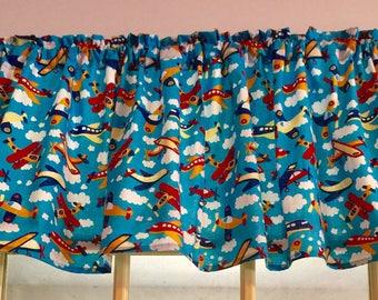 Baby Boys Bedroom Valance Blue Skies Airplane New Window Curtain Valance  For Nursery
