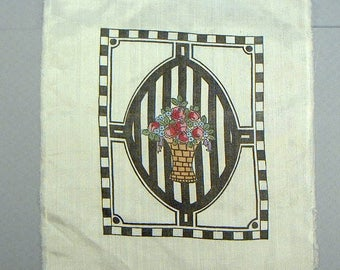 Vintage QUILT Silk square Handpainted basket with flowers Memphis black and white design  organza 6x6 3/4 in