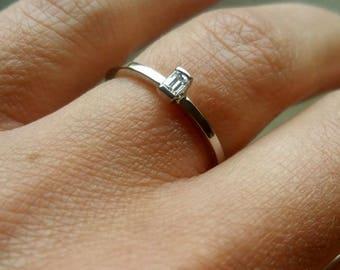 18K white gold ring. Diamond ring. Baguette diamond ring. Diamond engagement ring. Simple ring. Promise ring. Solitaire ring Minimalist ring