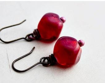 Cherry Earrings, Dangle Earrings, Glass Earrings, Cherry Red, Brass Earrings, Cherry Beads, Wire Wrapped, Drop Earrings, PoleStar