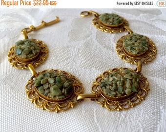 """ON SALE CRUSHED Jade Bracelet Exquisite Designer Vintage Gold Tone Chunky Panel Bracelet Crushed Jade Accents Very Retro Chic by """"century"""""""