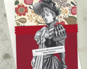 Pretty Red Flowered Birthday Card for Your Best Friend - Victorian Woman