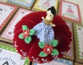 PINELOPE - A Pinny Wooden Doll Pin Topper with Two Itty Bitty Blossoms - Dressed in Blue Checks