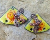 Yellow Daisy Dragonflies Copper Torch and Kiln Fired Enameled 1 pair Charms Earring components Whimsical SusieDesigns