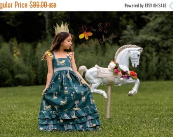 ON SALE Girls Unicorn Maxi Dress – Unicorn Dress – Girls Boutique Maxi Dress – Fall Boutique Dress - Unicorn Birthday Dress