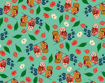 Blend Fabrics Garden Roost Owl's Perch in Turquoise - Half Yard