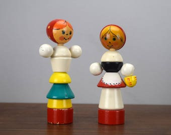 Vintage Soviet Stacking Dolls, Vintage Russian Wooden Toy Puzzle Pyramid, Made in USSR, Babushka, For Display