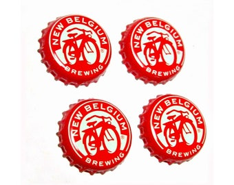 Craft Beer Magnet Set, Fat Tire Beer Cap Magnets, Beer Bottle Top Magnets, Set of Four, File Cabinet Magnet, Refrigerator Magnets