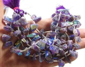 20% OFF SALE Rainbow Mystic Deep Amethyst Nugget Briolette  Beads , Aqua Aura Beads Raw