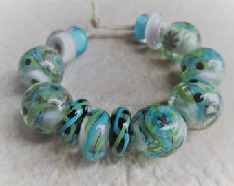 Handmade Lampwork Beads, Artisan Glass Beads, Blue Green Grey Round Bead Set