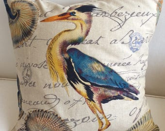 BLUE HERON pillow cover ready to ship  ooak
