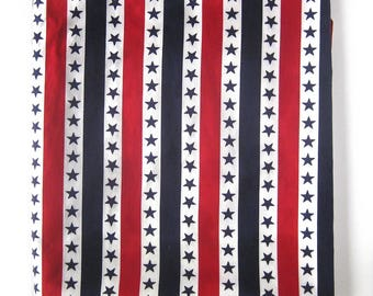 Vintage Cotton Upholstery Canvas Fabric - Stars and Stripes in Red White and Blue / Patriotic / Fourth of July