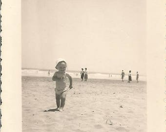 ON SALE Vintage 1950/50s French black & white  photography baby running on Cannes beach