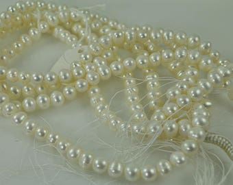 60 White Fresh Water Pearl 7mm beads