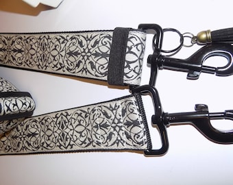 Black on Ivory Intricate Pattern Embroidered Jacquard Trim Purse/Bag STRAP