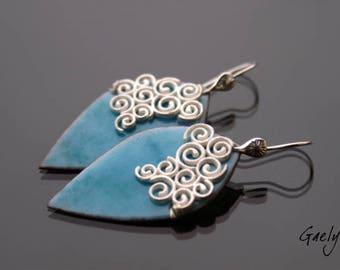 Summer sky - earrings, silver Sterling and enameled copper - Bohemian Chic - bo gaelys