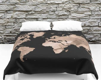 World map bedding etsy duvet cover bedding modern beadspread design 97 world map black brown tan by lucie dumas gumiabroncs Gallery