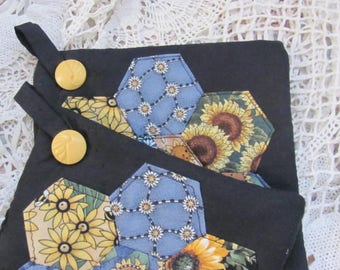 English Paper Piecing Pot Holders, Set of two Paper Pieced Trivets