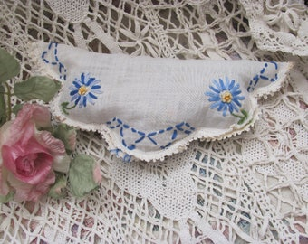 Lavender Sachet made from Vintage Embroidered Linen with Floral Work...