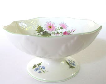 Crown Staffordshire Wild Flowers Candy Dish, Pedestal Candy Bowl, Footed Candy Dish