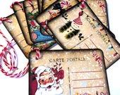 8  Fun Whimsical Christmas Gift Tags, Hang Tags, Santa, Stocking, Snowman, Post Card, Takuniquedesigns, Handmade