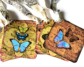 6 Old World Butterfly Gift Tags, Different Designs and Colors, party favor tags, hang tags, Takuniquedesigns, ow1