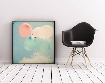 Balloon Photography, Nursery Art, Baby Room, Whimsical Photography, Pastel Colors, Little Girl's Room - Almost Free