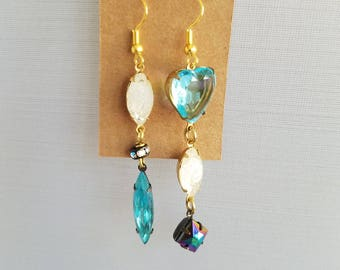 Mismatched Crystal Earrings, Blue Crystal, White Crystal, Long Dangles, Beaded Earrings, Summer Earrings Under 10