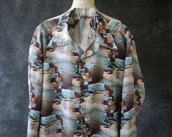 ON SALE 70's mens surf print photoprint polyester shirt XL Xxl
