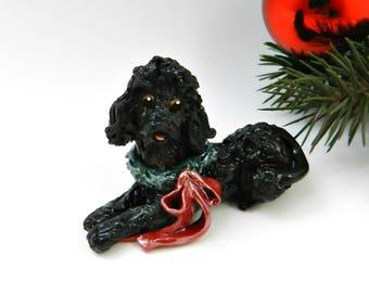 Poodle Black Christmas Ornament Figurine with Wreath Porcelain