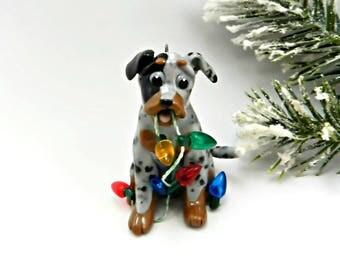 Catahoula Blue Leopard Dog Christmas Ornament Lights Porcelain