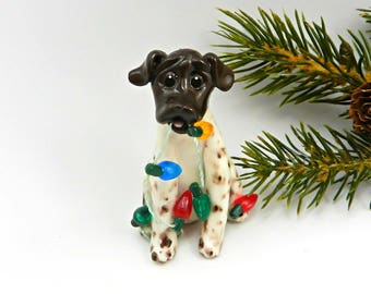 German Shorthaired Pointer Christmas Ornament Figurine Lights Porcelain