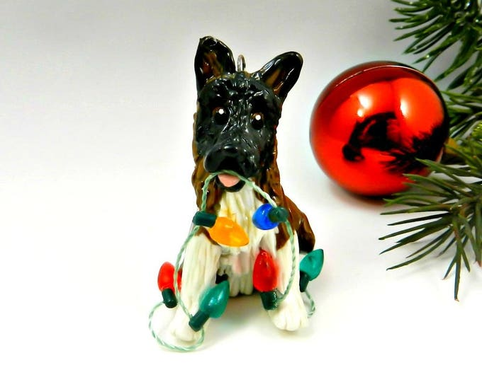 Akita Dog Christmas Ornament Figurine Lights Porcelain Clay
