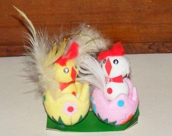 Vintage Kitschy Flocked Easter Chick in Egg Lot of 2 Chicks
