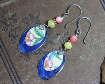 Cut Tin Earrings Pink Yellow Blue Upcycled Metal Colorful Earrings