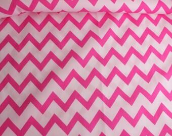 Pink and white Chevron PUL Fabric, cloth diaper fabric, diaper making material, waterproof fabric, pul destash