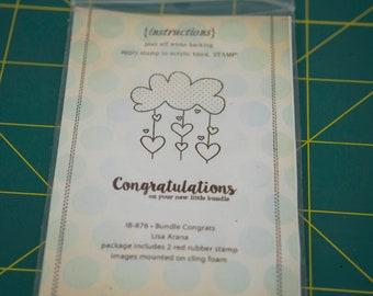 Unity Stamp Company, Bundle Congrats, baby card stamp, cloud stamp, congratulations stamp, baby stamp set, bundle of joy