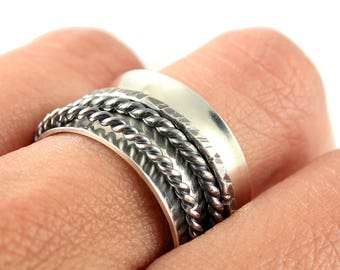 Sterling Spinner Ring with Two Twisted Wire and Forged Wire Sterling Spinners - Anxiety Ring, Fidget Ring, Stress Ring, Meditation Ring