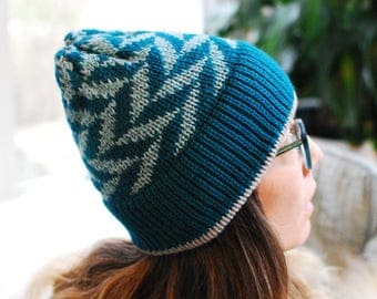 Machine Knit Hat //  Arrow Fair Isle Pattern in Turquoise // Winter Accessory // Soft and Squishy