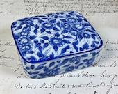 Vintage Blue and White floral porcelain divided trinket box with lid Andrea by Sadek