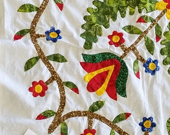 Princess Feather / Tulip, Hand Applique WALL QUILT TOP Incredible sm. details