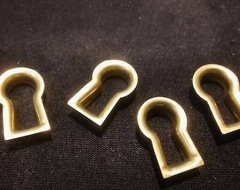 4 TINY ESCUTCHEONS, New Old Stock Keyhole,Jewelry Findings,Edwardian Keyhole,Victorian Keyhole, Brass Escutcheon,Furn Restoration