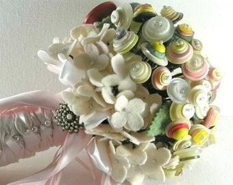 Button Wedding Bouquet, Felt Hydrangea Bouquet, Felt Button Bouquet
