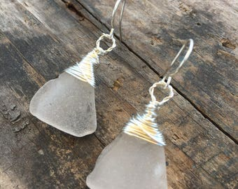 pale pinkish purple sea glass with sterling silver wrap earrings