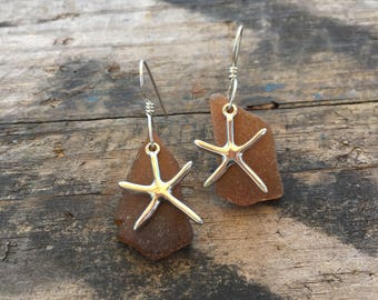 brown sea glass earrings with sterling silver starfish