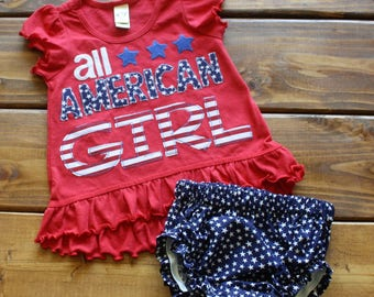 All American Girl Shirt, 4th of July Outfit, Baby Girl Clothes, Independence Day, Patriotic Shirt for Girls, Bloomers, Ready to Ship