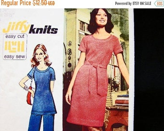 SALE 25% Off Easy to Sew A line Dress Pattern 1970s Misses size 12 Womens A Line Dress or Tunic Top with Pants Vintage Sewing Pattern