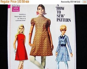SALE 25% Off 60s A line Dress Pattern Misses size 8 UNCUT Dress with Detachable Collar Vintage Sewing Patterns Simplicity Pattern